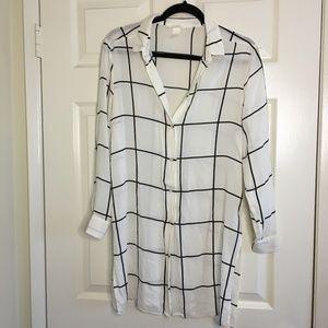 White & Black Shirt Dress Tunic Button Down H&M